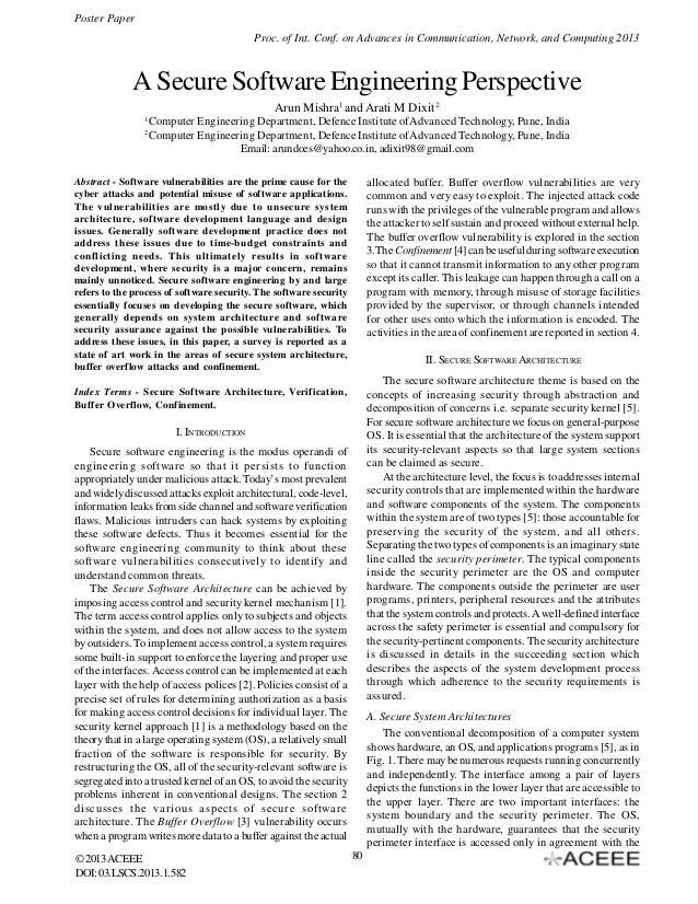 Poster Paper Proc. of Int. Conf. on Advances in Communication, Network, and Computing 2013  A Secure Software Engineering ...