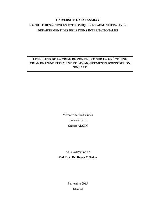 UNIVERSITÉ GALATASARAY FACULTÉ DES SCIENCES ÉCONOMIQUES ET ADMINISTRATIVES DÉPARTEMENT DES RELATIONS INTERNATIONALES Mémoi...
