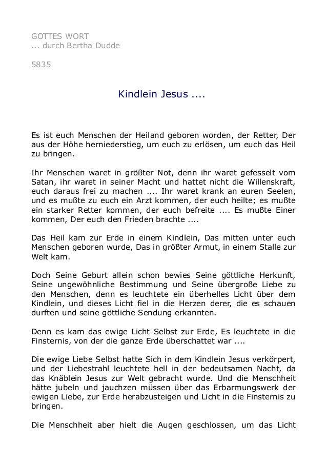 GOTTES WORT  ... durch Bertha Dudde  5835  Kindlein Jesus ....  Es ist euch Menschen der Heiland geboren worden, der Rette...