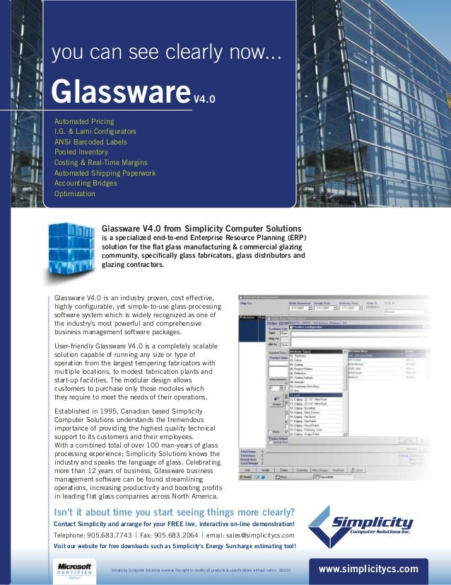 GlasswareV4.0 Automated Pricing I.G. & Lami Configurators ANSI Barcoded Labels Pooled Inventory Costing & Real-Time Margin...