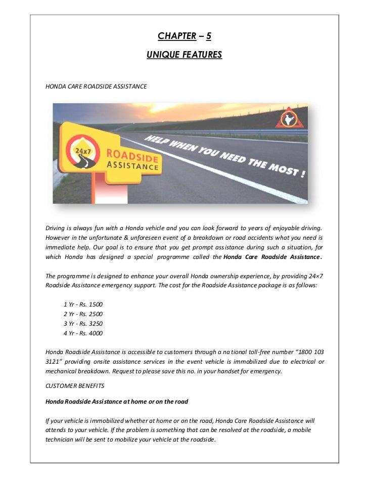 20. CHAPTER ² 5 UNIQUE FEATURESHONDA CARE ROADSIDE ASSISTANCEDriving ...