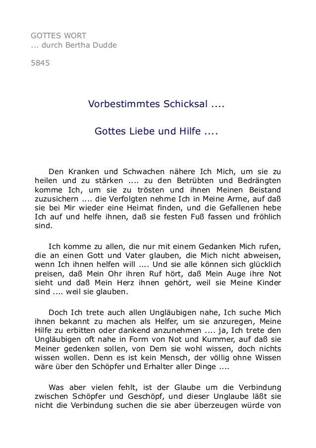 GOTTES WORT  ... durch Bertha Dudde  5845  Vorbestimmtes Schicksal ....  Gottes Liebe und Hilfe ....  Den Kranken und Schw...