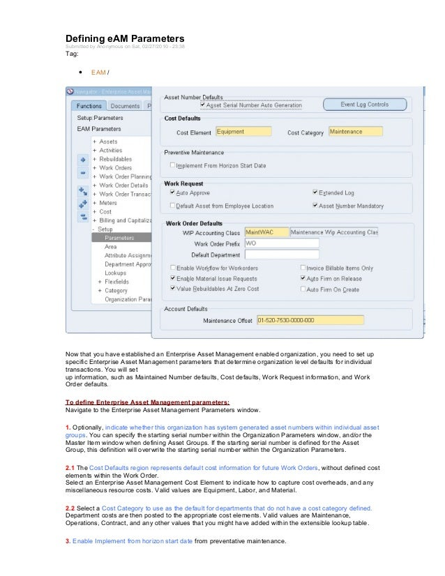 Defining eAM ParametersSubmitted by Anonymous on Sat, 02/27/2010 - 23:38Tag:     •    EAM /Now that you have established a...