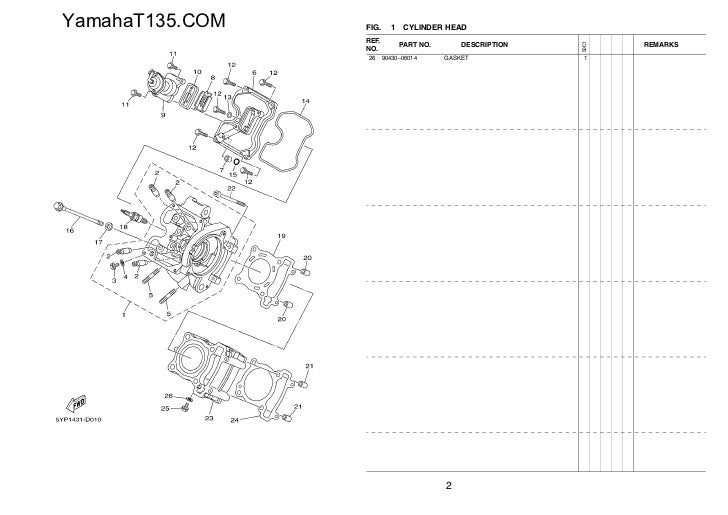 58546102 2011 Yamaha T135 Parts Catalog