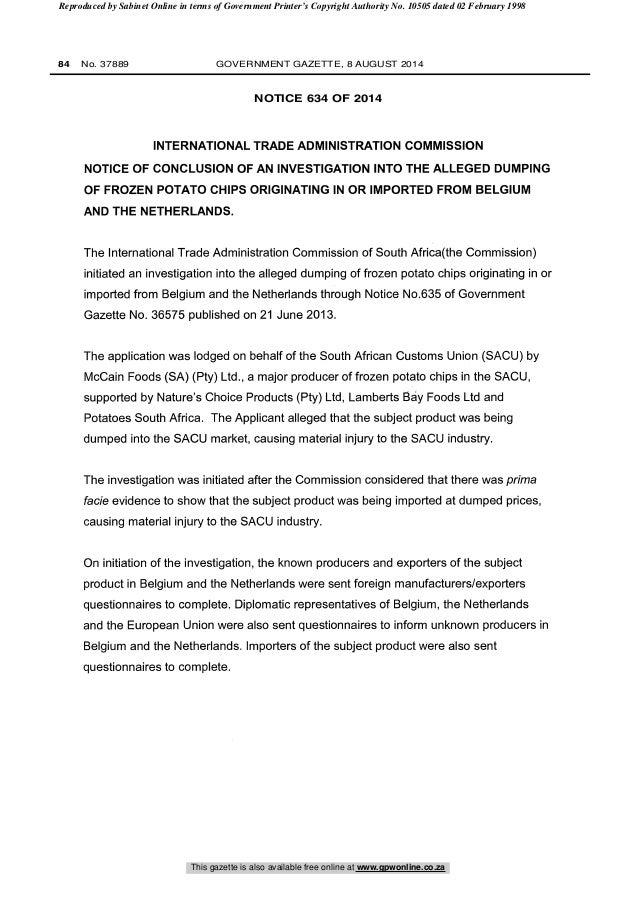 2014 08 11 - Notice 634 of 2014 Investigation Potato Chips