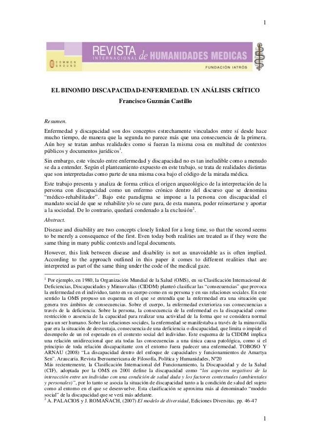 1    EL BINOMIO DISCAPACIDAD-ENFERMEDAD. UN ANÁLISIS CRÍTICO                                    Francisco Guzmán CastilloR...