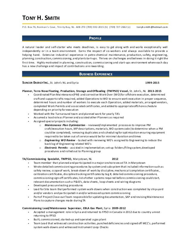 Tony Smith - Resume 2015