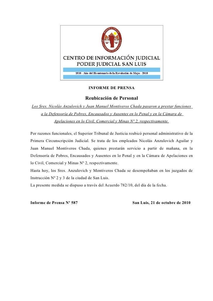 INFORME DE PRENSA                                  Reubicación de Personal Los Sres. Nicolás Anzulovich y Juan Manuel Mont...