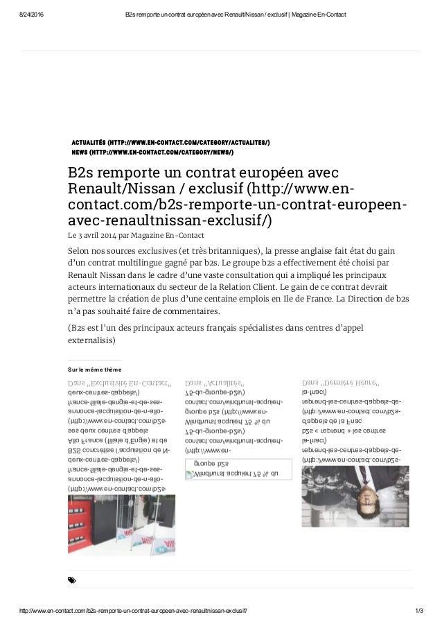8/24/2016 B2sremporteuncontrateuropéenavecRenault/Nissan/exclusif|MagazineEnContact http://www.encontact.com/...