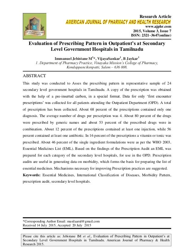 Please cite this article as: Jebistane IM et al., Evaluation of Prescribing Pattern in Outpatient's at Secondary Level Gov...
