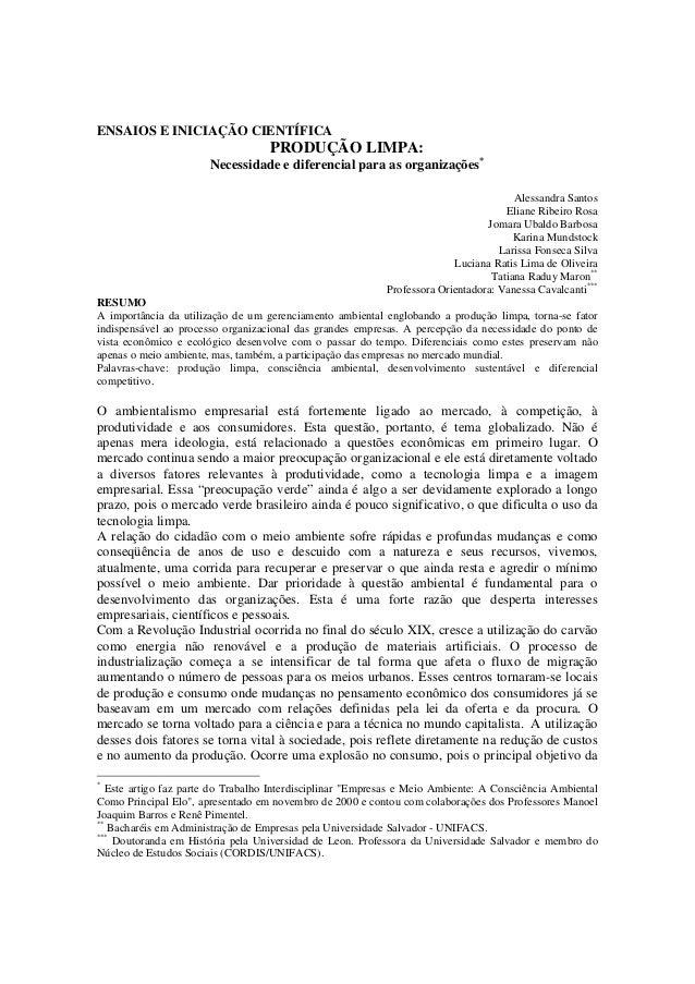ENSAIOS E INICIAÇÃO CIENTÍFICA                                    PRODUÇÃO LIMPA:                       Necessidade e dife...