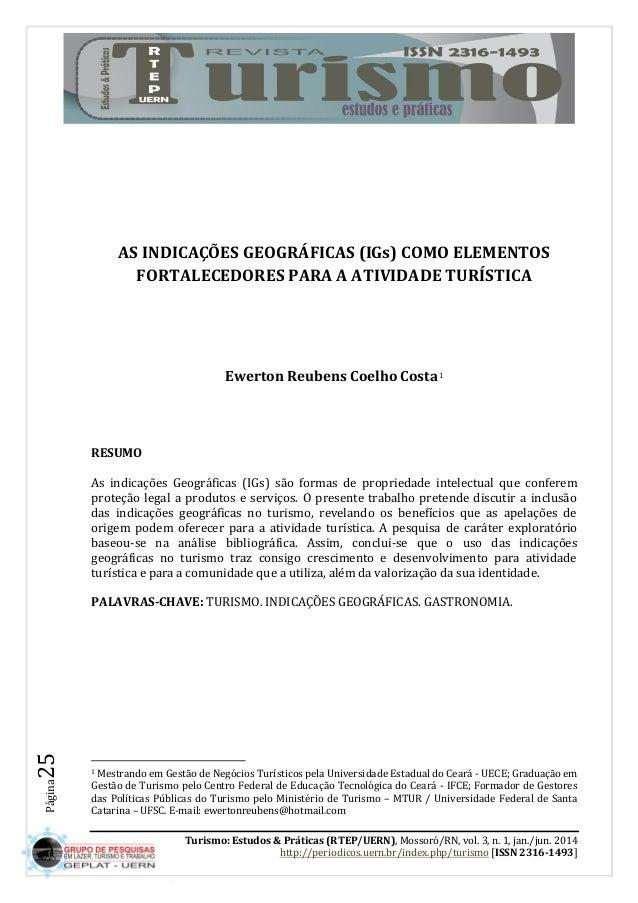 Turismo: Estudos & Práticas (RTEP/UERN), Mossoró/RN, vol. 3, n. 1, jan./jun. 2014  http://periodicos.uern.br/index.php/tur...