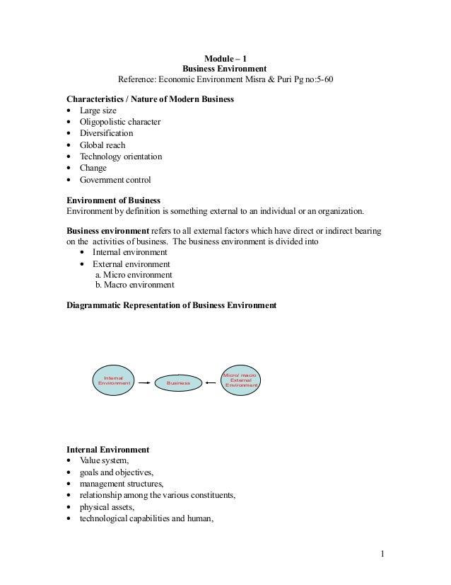 Module – 1                               Business Environment               Reference: Economic Environment Misra & Puri P...
