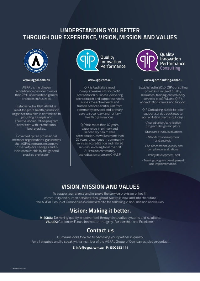 Published August 2016 UNDERSTANDING YOU BETTER THROUGH OUR EXPERIENCE, VISION, MISSION AND VALUES www.agpal.com.au AGPAL i...