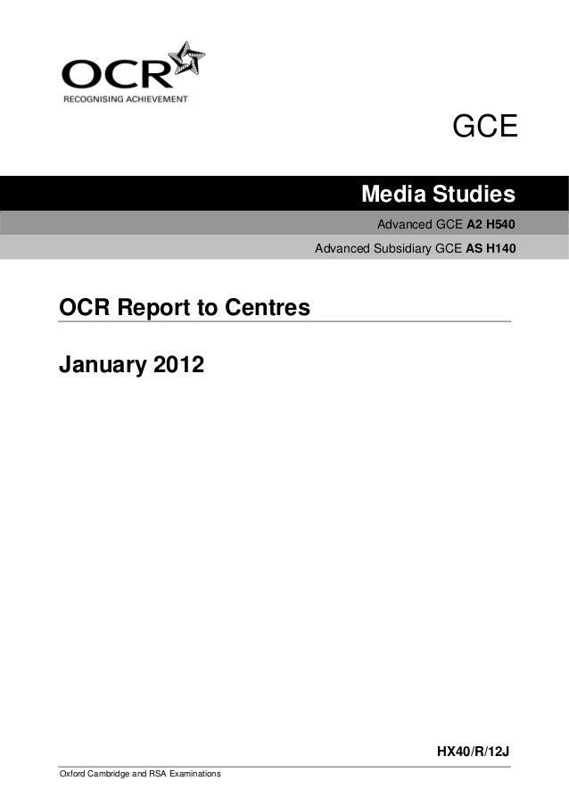 GCE                                               Media Studies                                                 Advanced G...