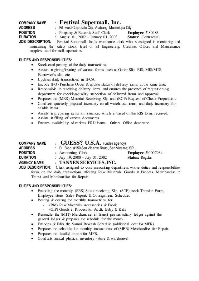 Shipping Clerk Job Description