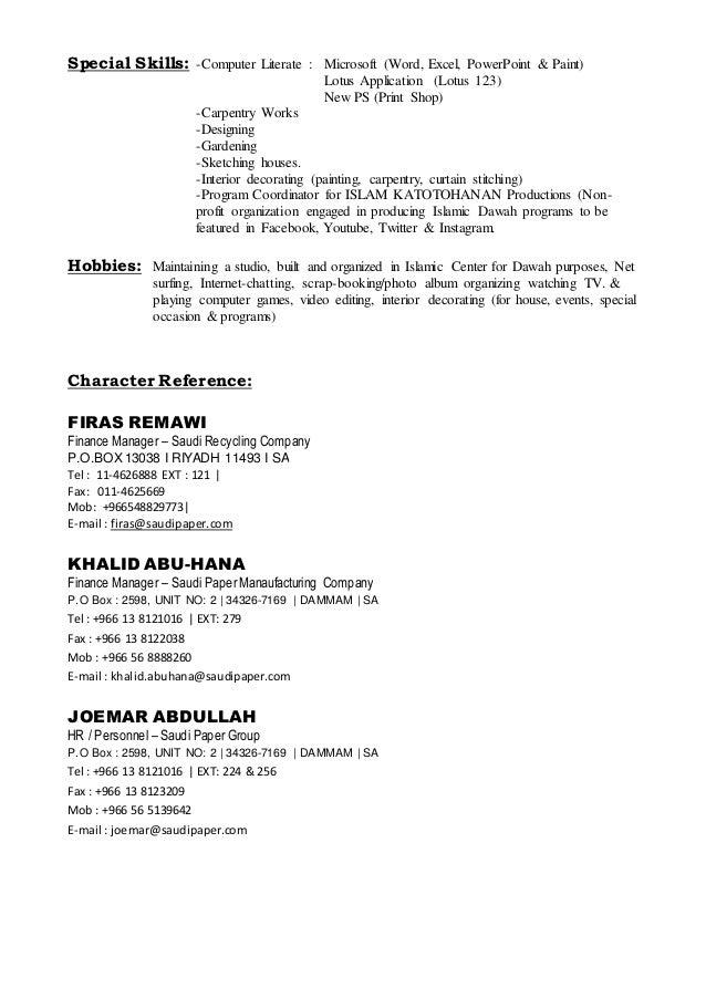 Computer literate resume