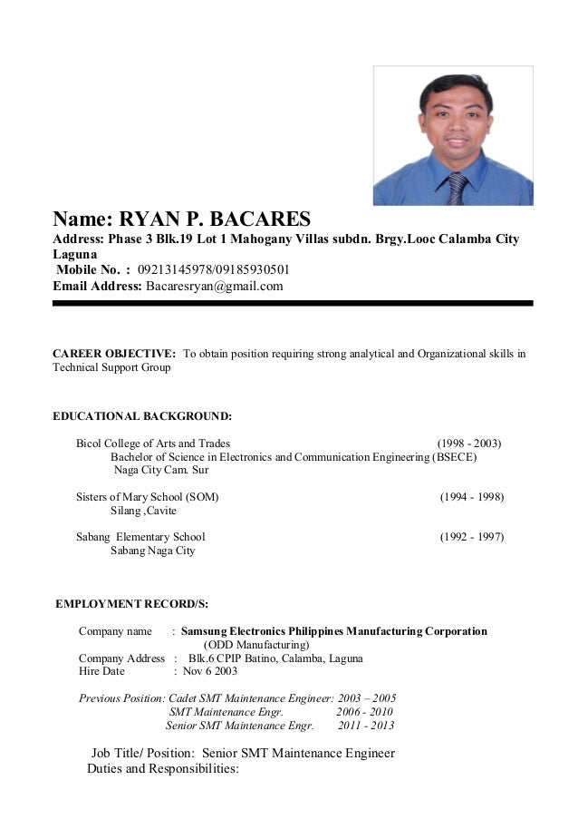 my resume format name ryan p bacares address phase 3 blk19 lot 1 mahogany