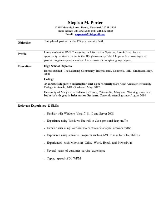 Stephen Porter Entry Level Information Cyber Security Resume