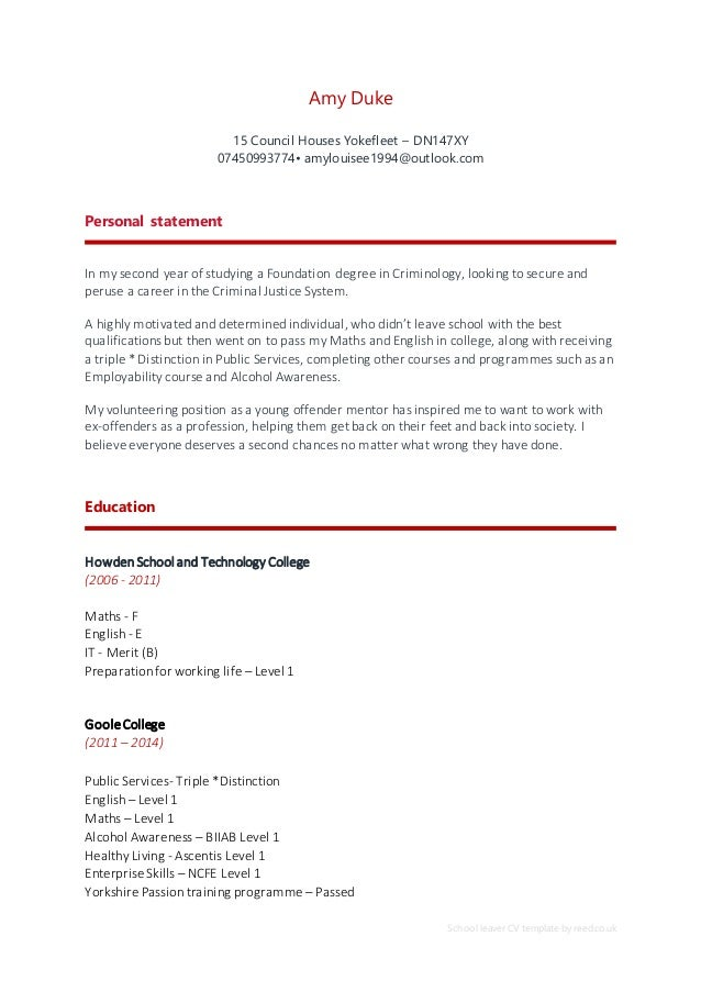 Cv school leaver cv template by reed amy duke 15 council houses yokefleet yelopaper Choice Image