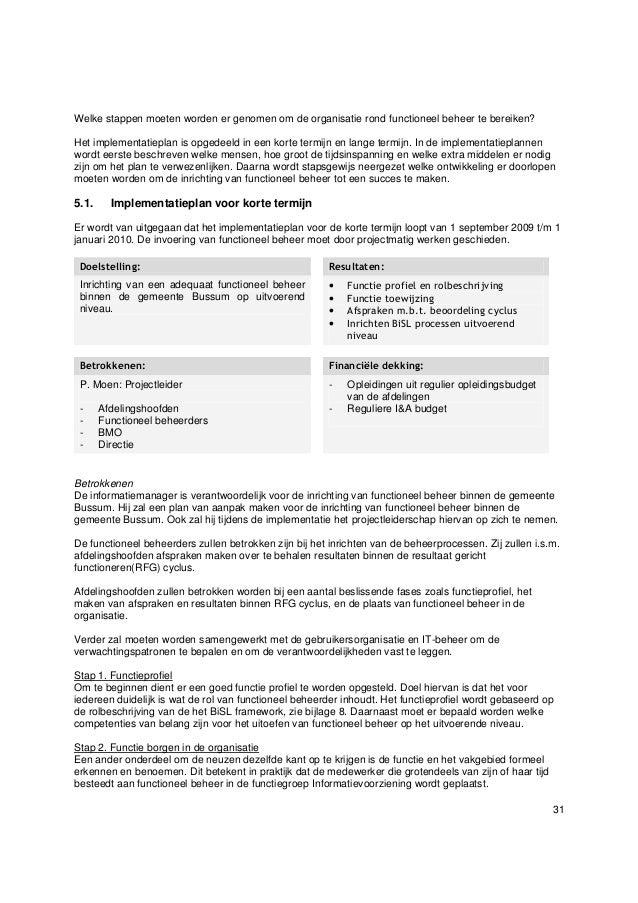 plan van aanpak adviesrapport Adviesrapport Functioneel Beheer binnen de gemeente Bussum plan van aanpak adviesrapport