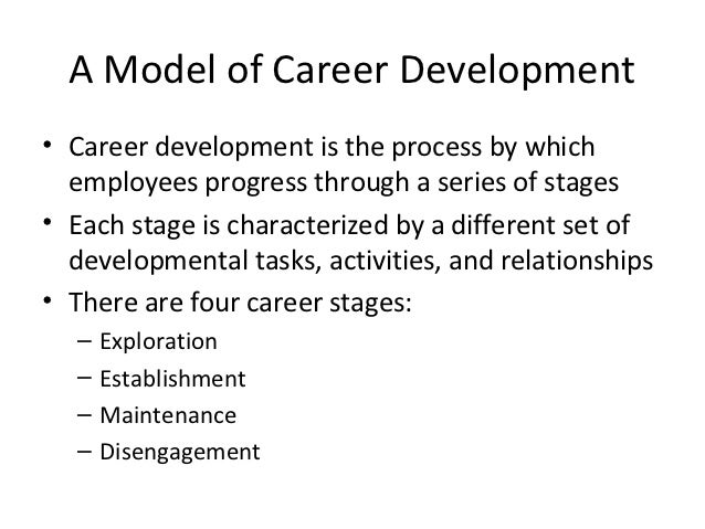 A Model of Career Development• Career development is the process by which  employees progress through a series of stages• ...