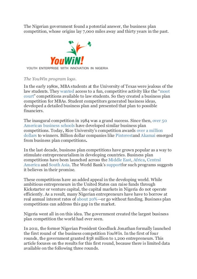 Apply for YOUWIN Business Plan Competition