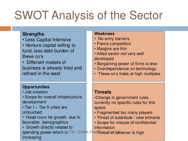 swot analysis of education sector in india Swot analysis of globalized indian higher education in india is higher education now, if we draw a swot analysis diagram.