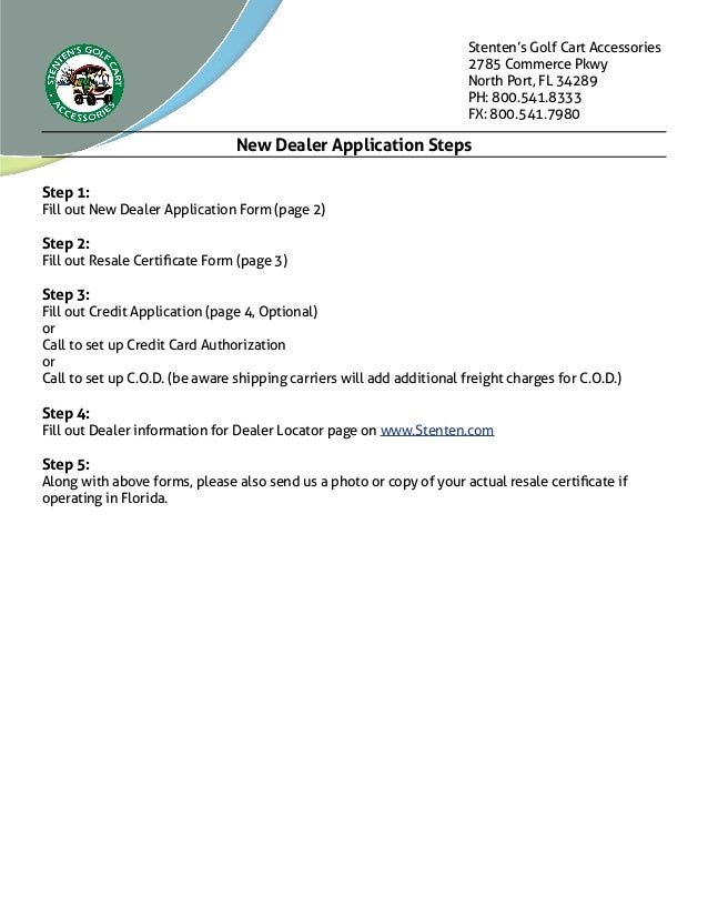 New Dealer Application