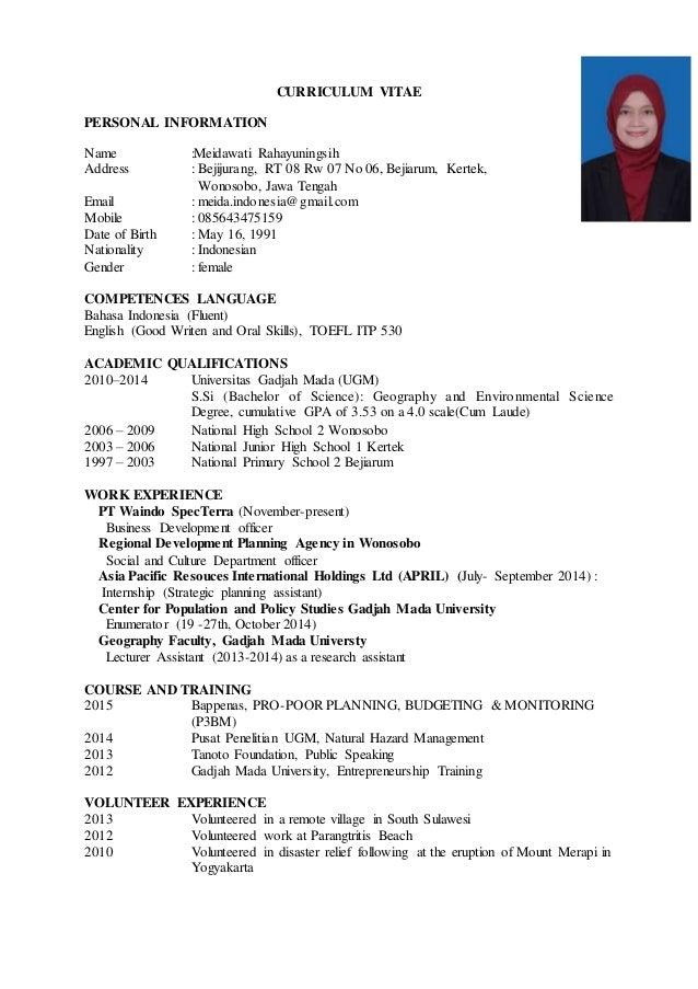 Curriculum vitae dissertation