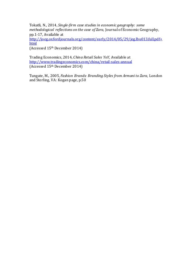 Tokatli, N., 2014, Single-firm case studies in economic geography: some methodological reflections on the case of Zara, Jo...