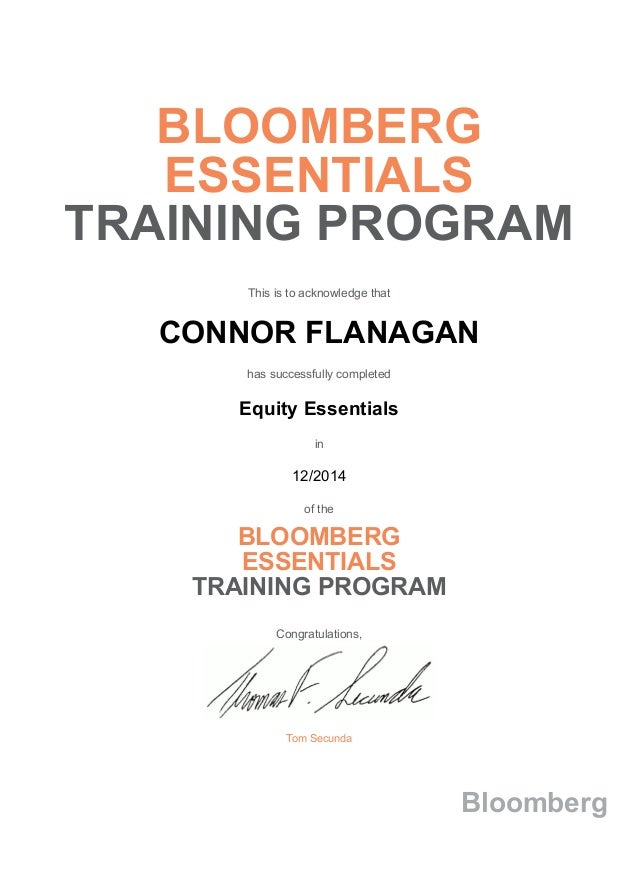 bloomberg training essentials program certificate commodity certification market income fixed concepts bess exam slideshare upcoming equity