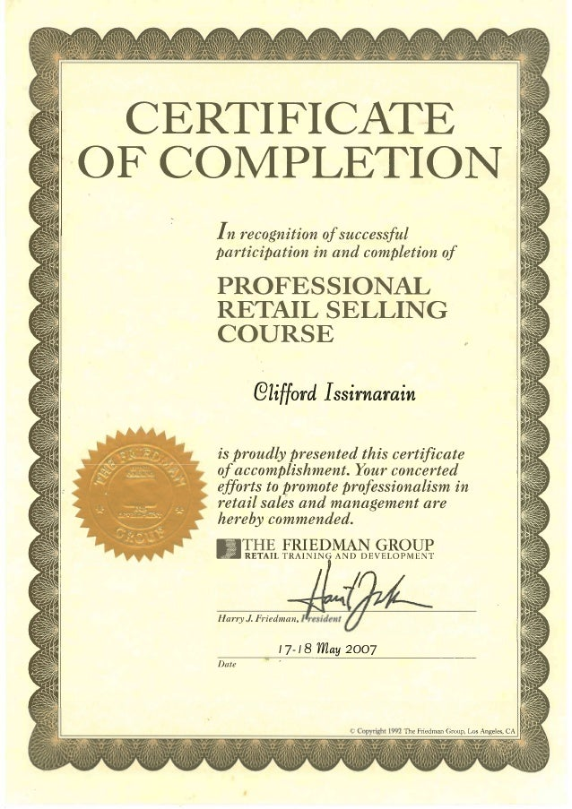 Professional Retail Sales Certificate