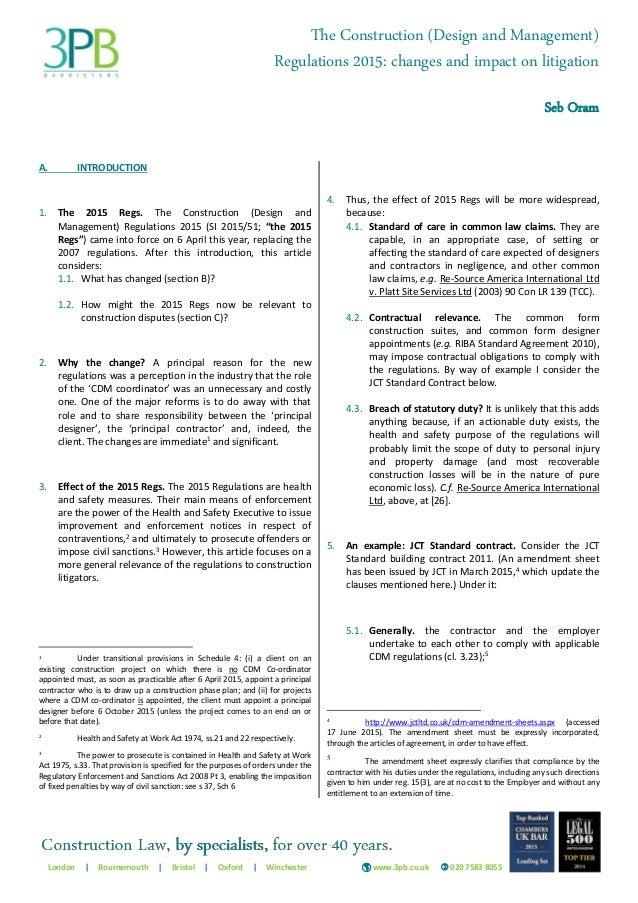 Seb Oram The 2015 Cdm Regulations Changes And Impact On Litigation