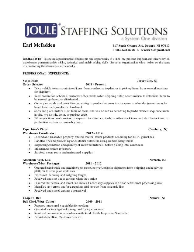 resume for deli clerk