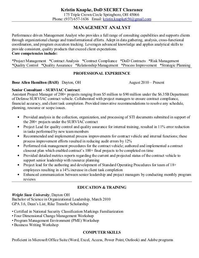 Kristin Knapke Final Resume Management Analyst