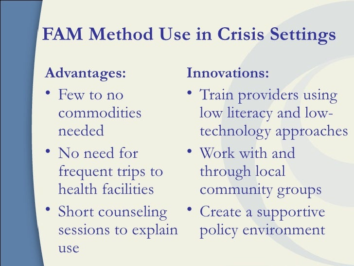 Use of fertility awareness based family planning methods for Family planning com