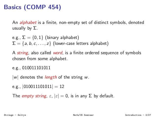 Algorithms on Strings Slide 3
