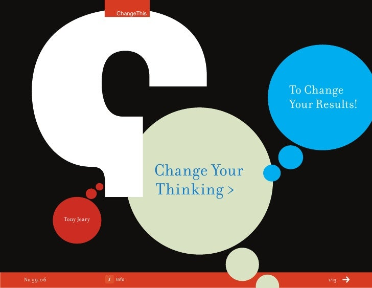 Change Your Thinking > To Change Your Results! (a ChangeThis Manifesto by Tony Jeary)