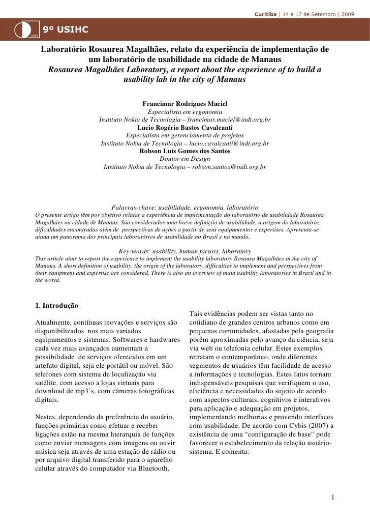 Laboratório Rosaurea Magalhães, relato da experiência de implementação de              um laboratório de usabilidade na ci...