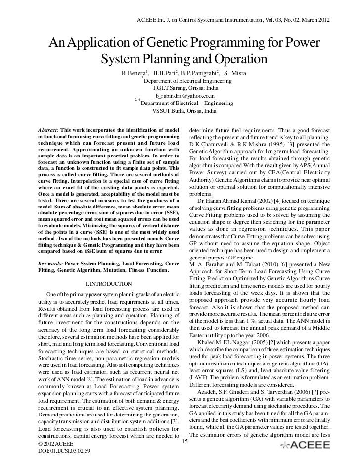 ACEEE Int. J. on Control System and Instrumentation, Vol. 03, No. 02, March 2012    An Application of Genetic Programming ...