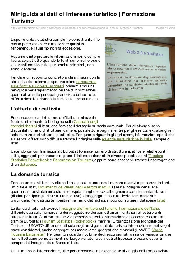 Miniguida ai dati di interesse turistico | FormazioneTurismohttp://www.formaz ioneturismo.com/studi- e- ricerche- nel- tur...