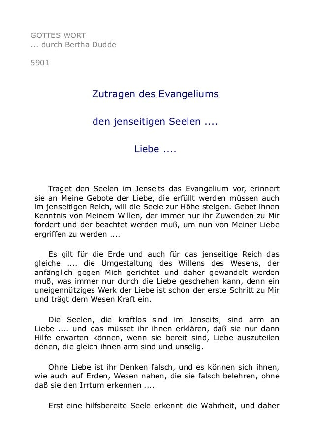 GOTTES WORT  ... durch Bertha Dudde  5901  Zutragen des Evangeliums  den jenseitigen Seelen ....  Liebe ....  Traget den S...