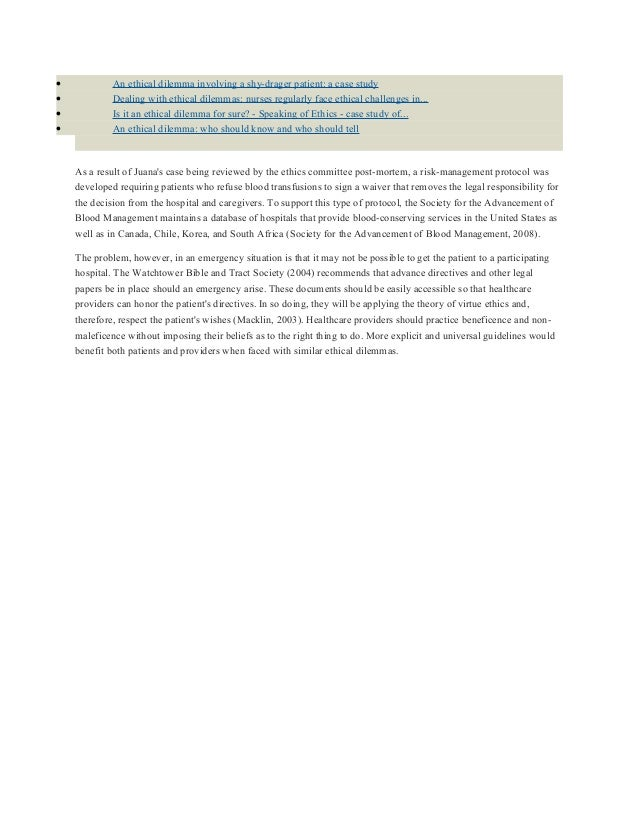 Casestudy  Nursing Ethics