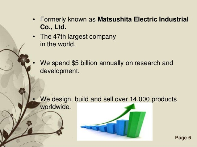 • Formerly known as Matsushita Electric Industrial  Co., Ltd.• The 47th largest company  in the world.• We spend $5 billio...