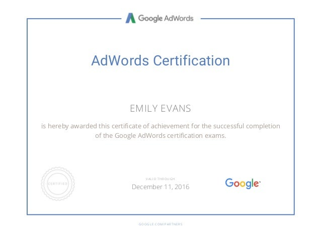 Google Adwords And Mobile Advertising Certifications