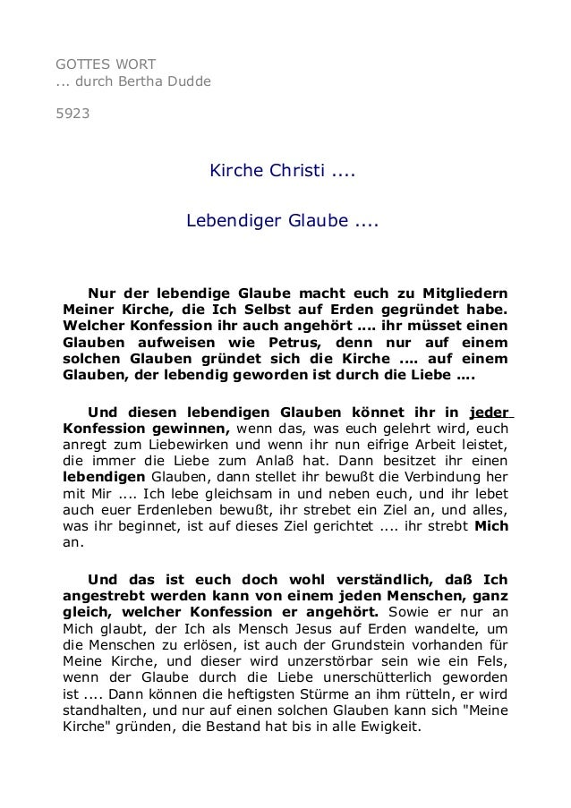 GOTTES WORT  ... durch Bertha Dudde  5923  Kirche Christi ....  Lebendiger Glaube ....  Nur der lebendige Glaube macht euc...