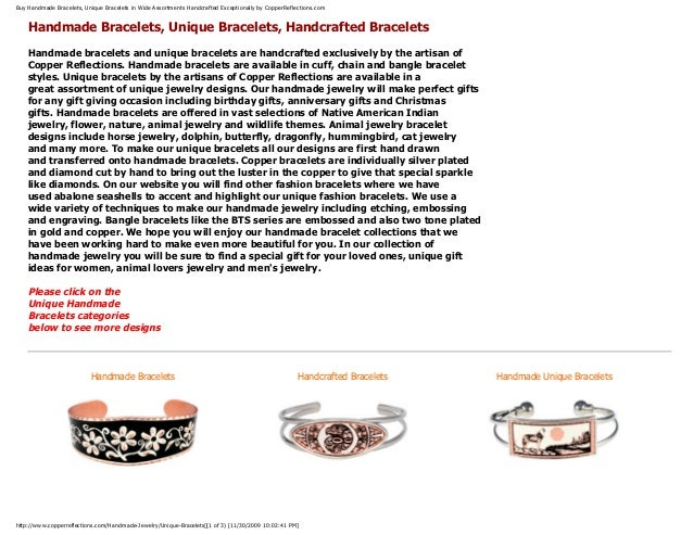 Buy Handmade Bracelets, Unique Bracelets in Wide Assortments Handcrafted Exceptionally by CopperReflections.com Handmade B...