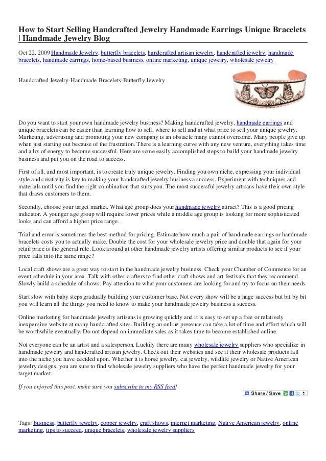 How to Start Selling Handcrafted Jewelry Handmade Earrings Unique Bracelets | Handmade Jewelry Blog Oct 22, 2009 Handmade ...