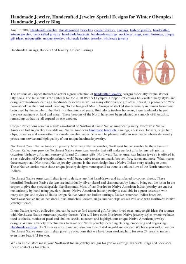 Handmade Jewelry, Handcrafted Jewelry Special Designs for Winter Olympics   Handmade Jewelry Blog Aug 17, 2009 Handmade Je...